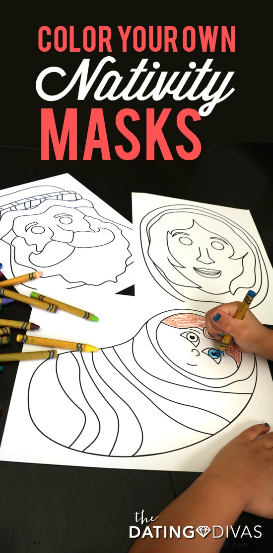 Color Your Own Printable Nativity Masks- free Christmas color pages