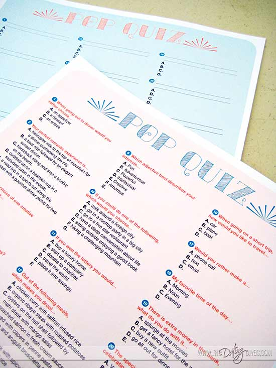 Couples Pop Quiz Date Night Printable Kit