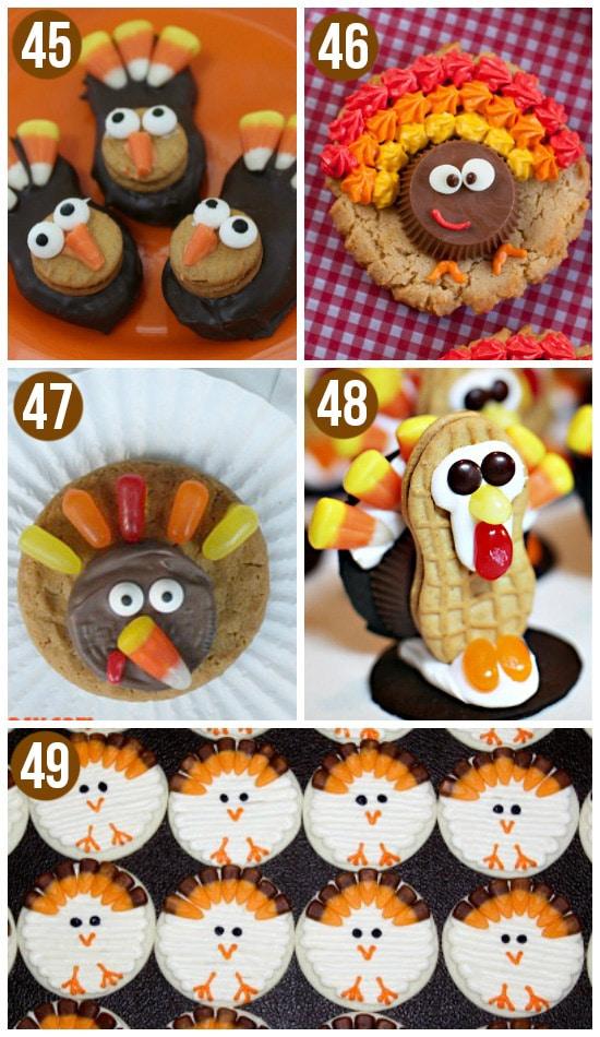 Cute Thanksgiving Turkey Cookies