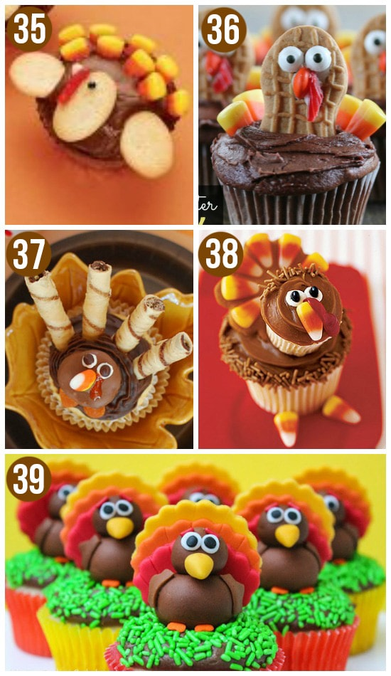 Cute Turkey Cupcakes as Thanksgiving Desserts