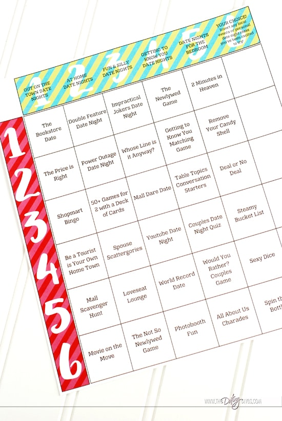 Date Night Dice Date Night Ideas Grid