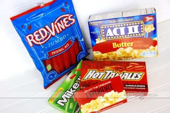 Movie Date Night supplies