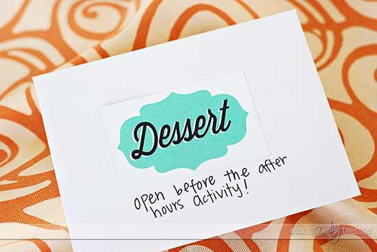Date Night Swap dessert envelope