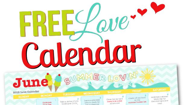 Free Printable June 2015 Love Calendar