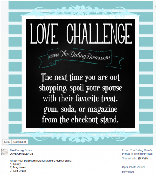 Facebook Love Challenge - Join us on Facebook to see more!