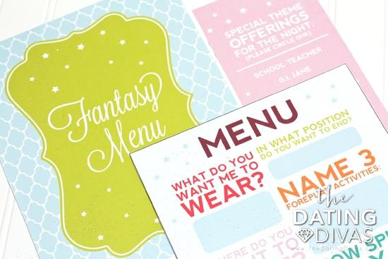 A printable menu of fantasy options.