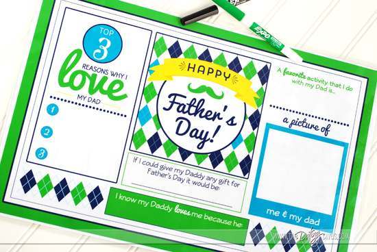 Father's Day Placemat Gift Idea With Free Printables