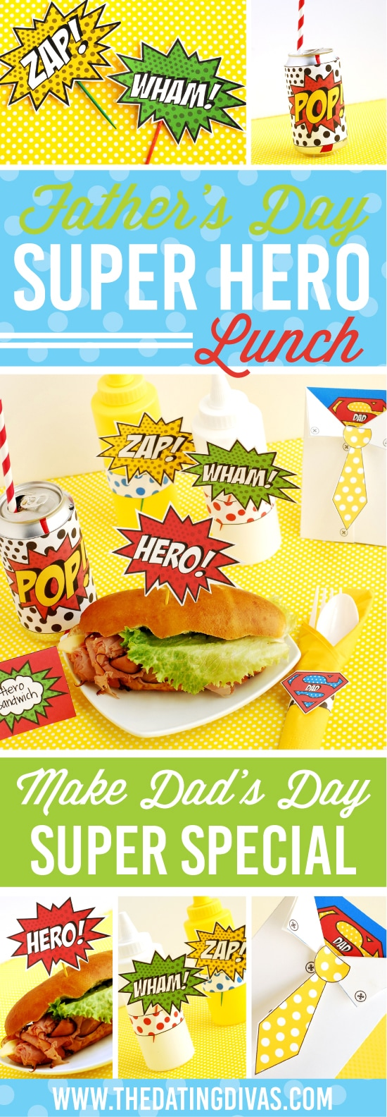 These Father's Day superhero party printables are the cutest things! The superhero Father's Day card is my favorite part! #FathersDay #TheDatingDivas #SuperheroParty #SuperheroPrintables