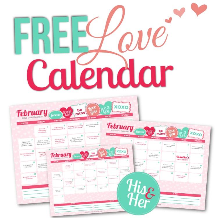 February 2016 Love Calendar