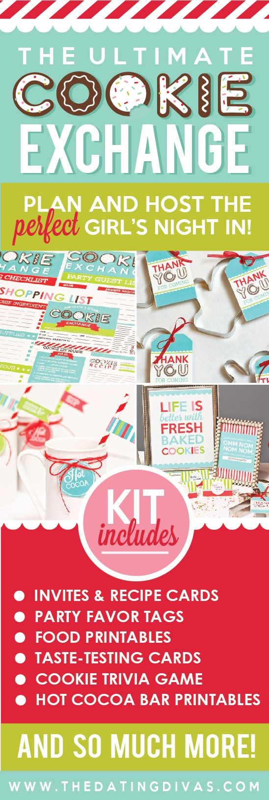Cookie exchange printable pack with everything you need to host the perfect party! #TheDatingDivas #CookieExchange