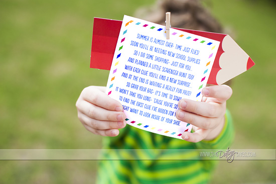 Printable Clue Cards for a Back to School Scavenger Hunt in Search of New School Supplies