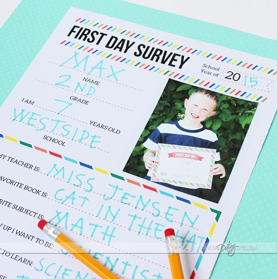 First Day Survey Back to School Ideas