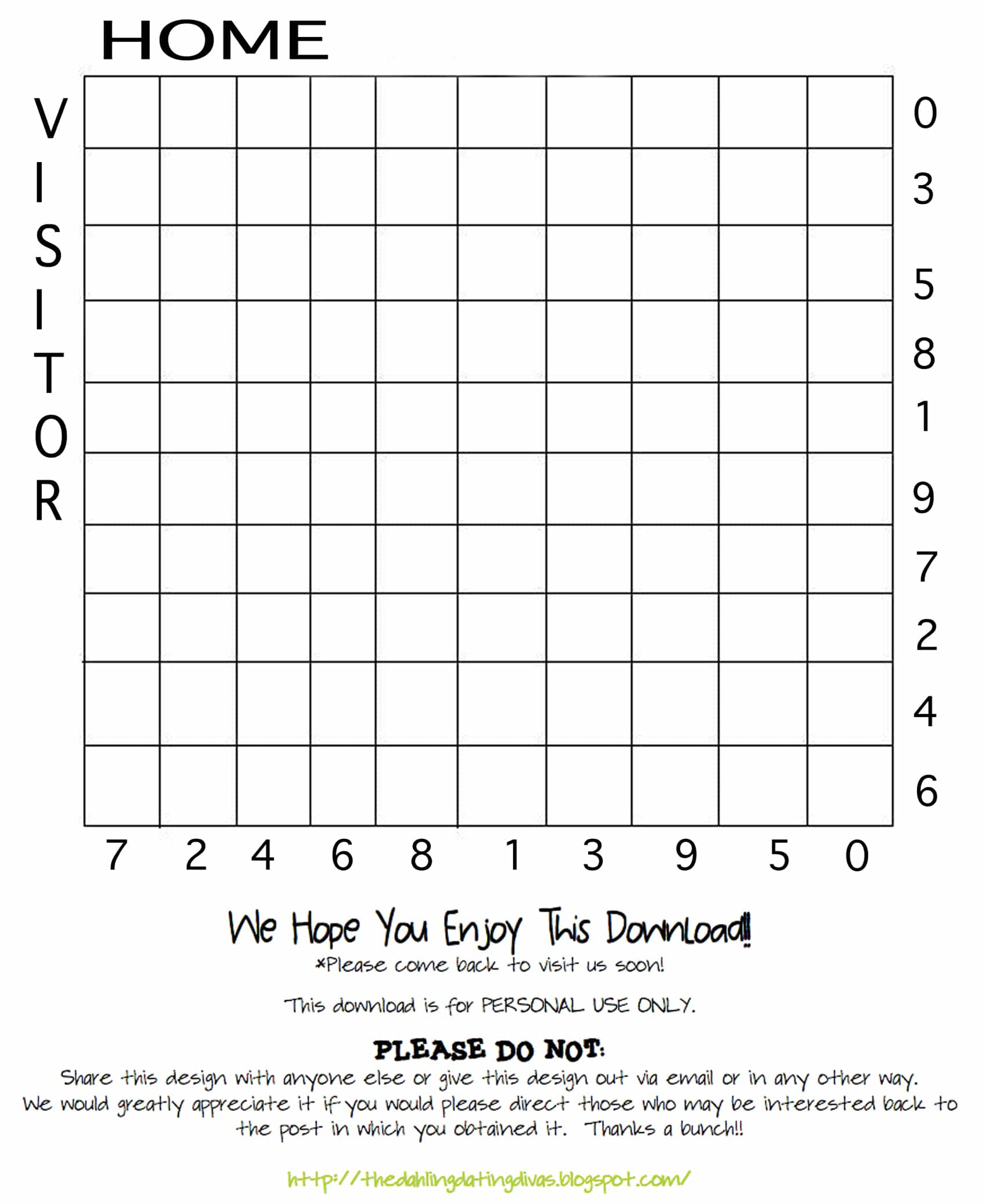 The cyclone edition superbowl squares for your office pool printable football squares template pronofoot35fo Choice Image