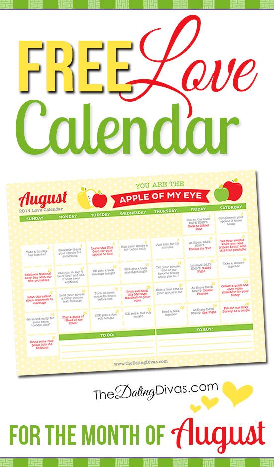 Free Printable August Love Calendar