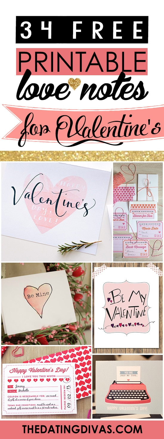 Free Printable Love Notes for Valentine's Day banner