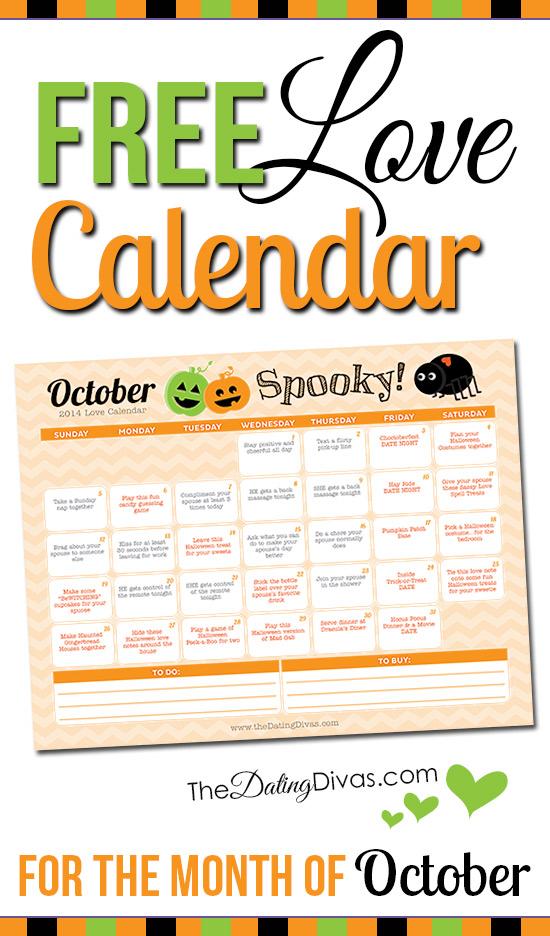 Free Printable October Love Calendar