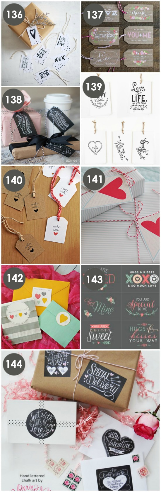 Free Printable Valentine Gift Tags collage