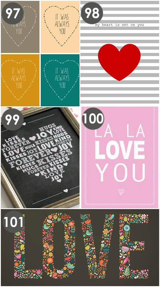 Free Printable Wall Prints for Valentine's Day