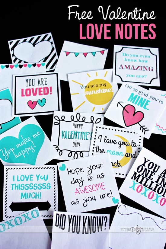 Free Valentine Love Notes for Kids
