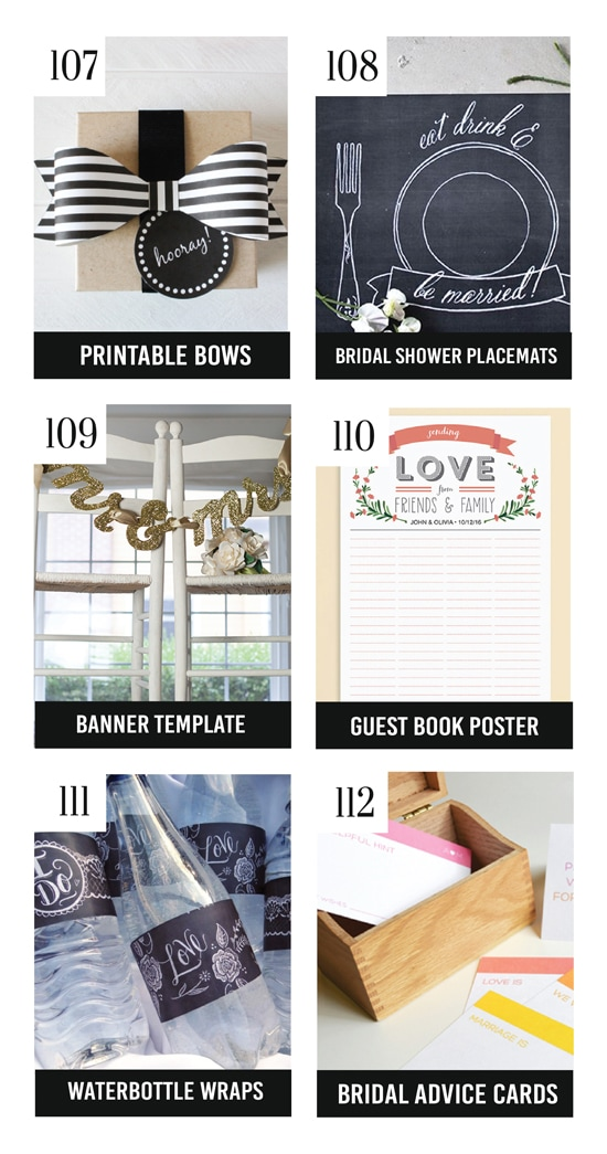 Free and Cute Bridal Shower Printables