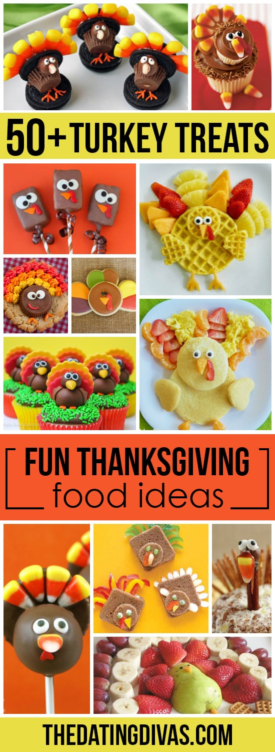 Looking for some fun and creative food ideas for Thanksgiving? We've rounded up over 50 of the best turkey treats and Thanksgiving snacks we could find - your kids are sure to gobble them up! #datingdivas #thanksgivingtreats #thanksgivingsnacks #thanksgivingfoodideas