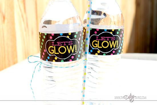 Glow in the dark party water bottle labels.