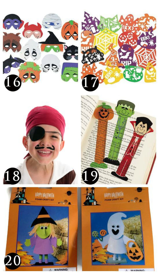 Halloween craft items for trick or treat options.