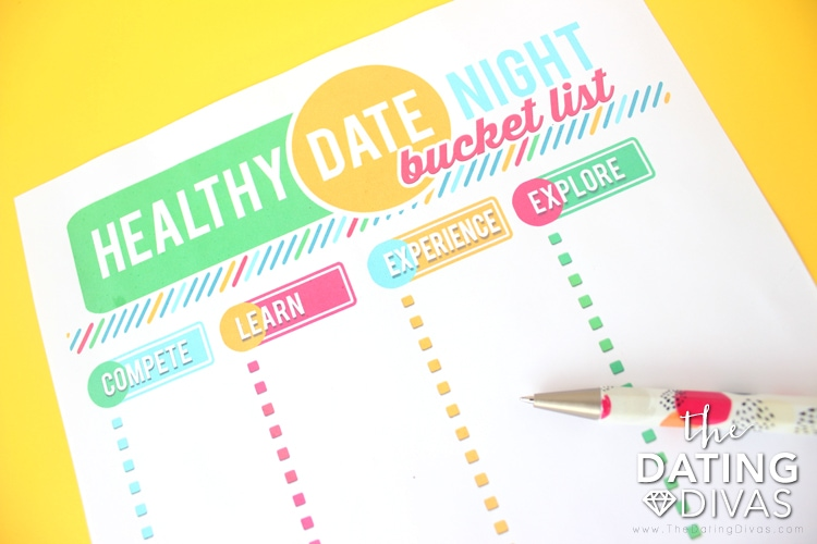 Healthy Date Night Bucket List Blank