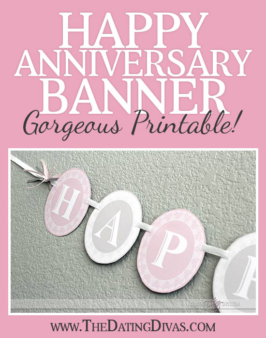 graphic relating to Happy Anniversary Banner Free Printable known as Joyful Anniversary Banner