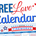 Free Printable July 2015 Love Calendar