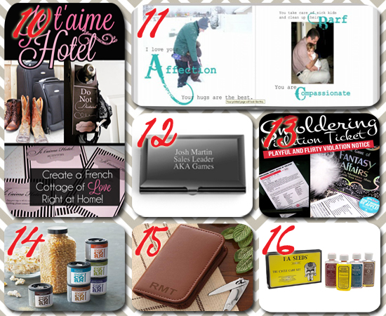 Collage Of 6 Inexpensive Valentine Gifts For Him