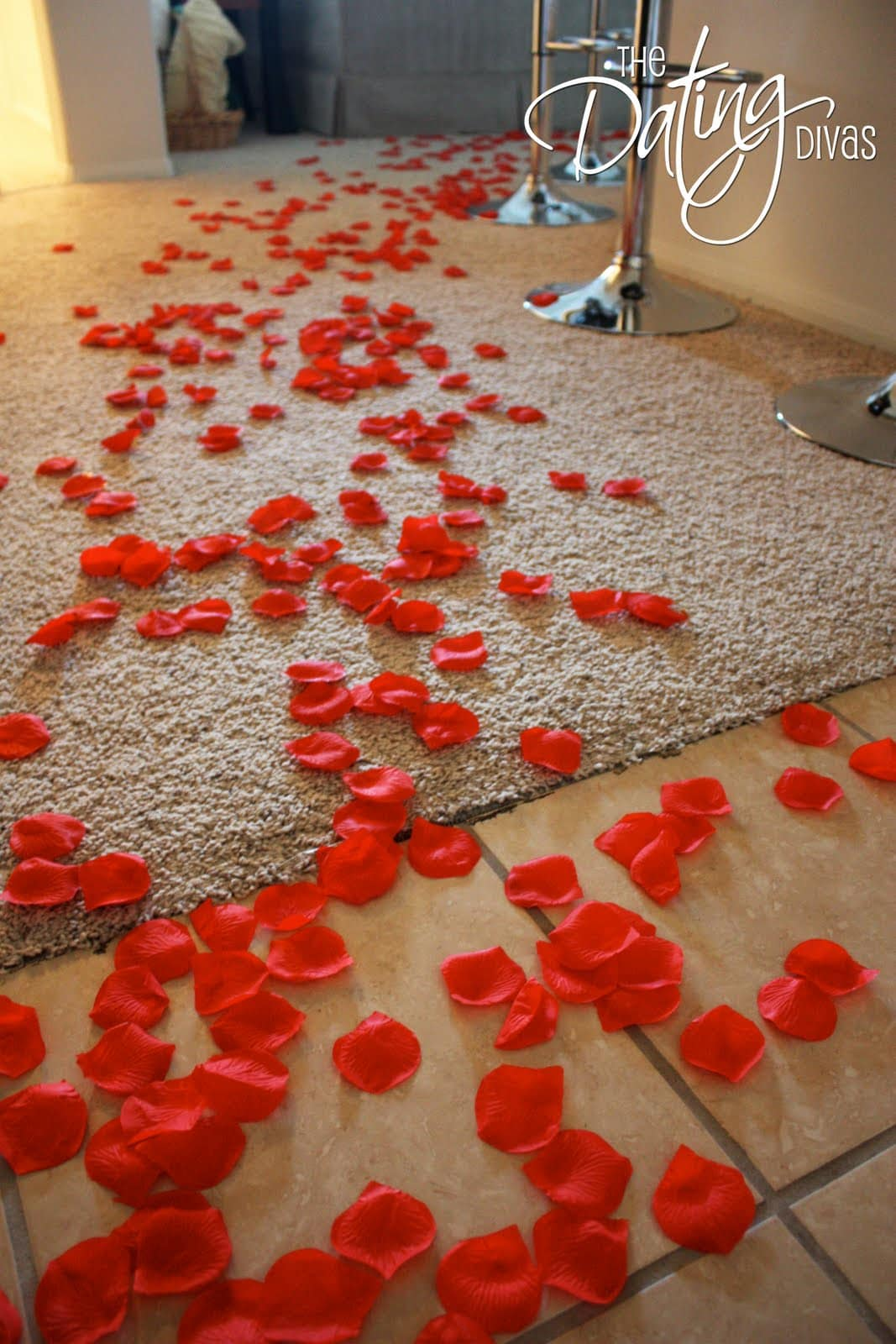 Set the mood with rose petals for romance with your spouse for Valentine day at home