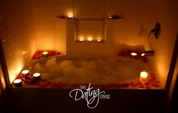 Romantic Bath with Candles