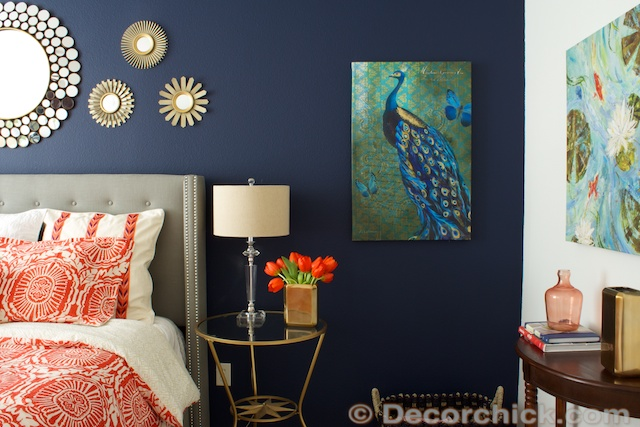 Gorgeous Navy amp Coral Master Bedroom With DIY Decor