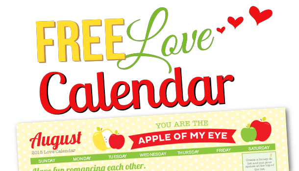 Free Printable 2015 August Love Calendar