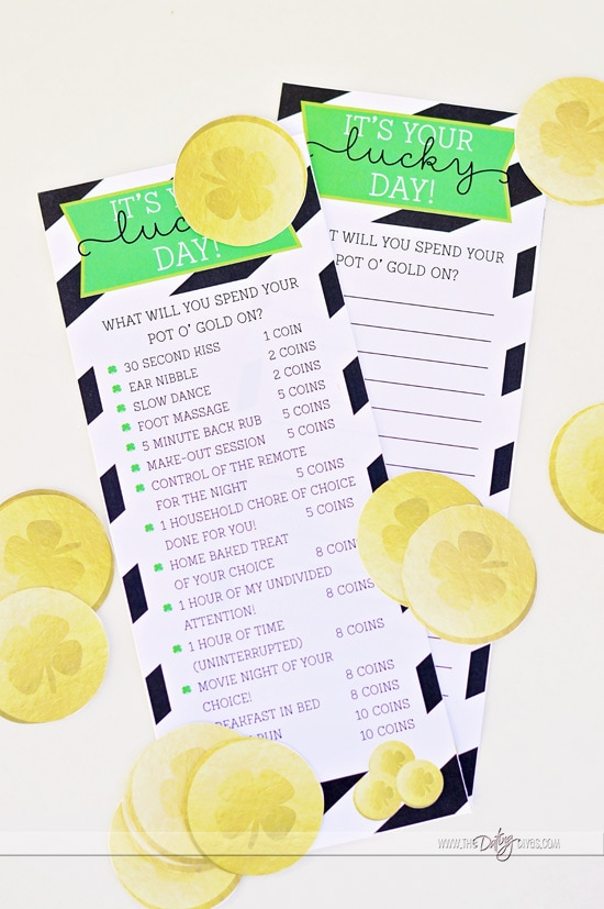 Free Printable Love Menu