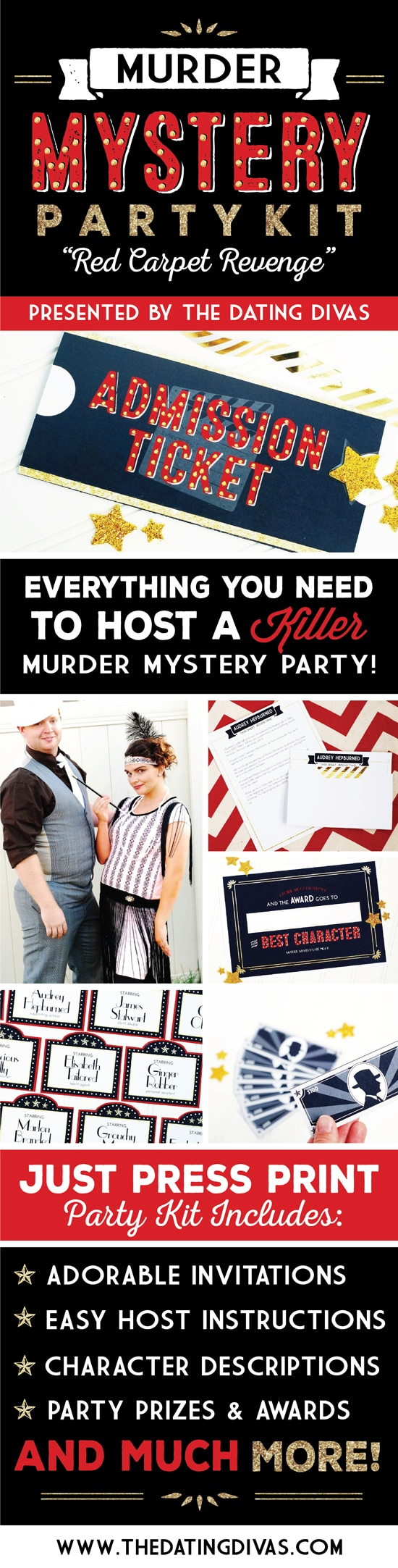 Seriously - the BEST Murder Mystery Party Kit I've ever used! Packed with TONS of Murdery Mystery Party ideas and darling designs, too! #murdermystery #murdermysterypartykit #howtohostamurderymysteryparty #thedatingdivas