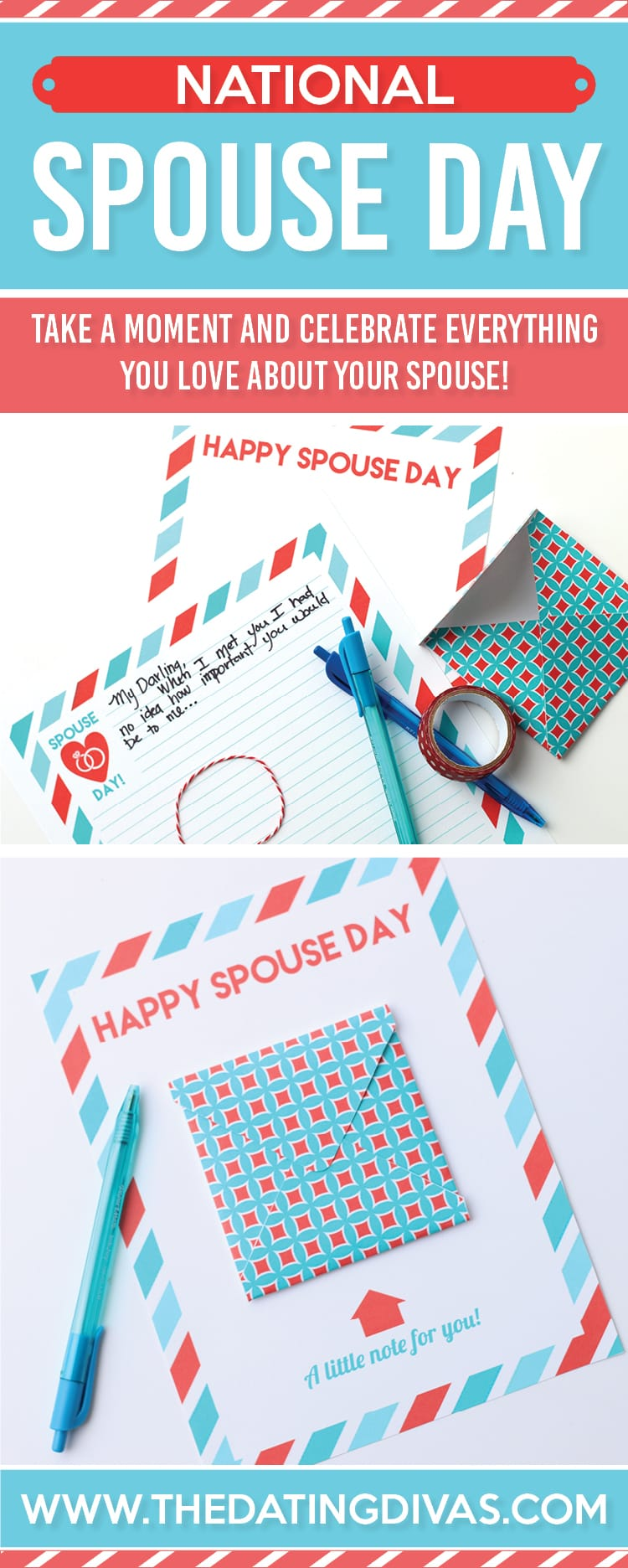 Free printable National Spouse Day card for your special someone! #TheDatingDivas #NationalSpouseDay #PrintableCard