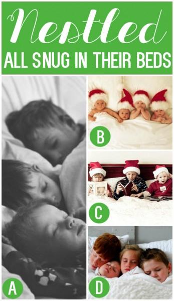Nestled All Snug in Their Beds Christmas Card Photo Idea