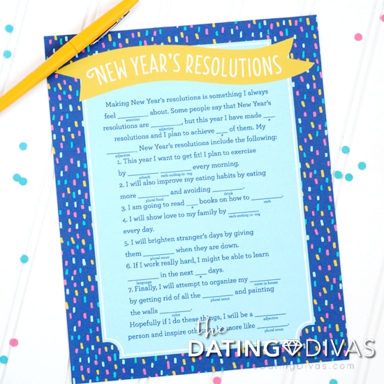 New Year's Eve Resolution Mad Libs