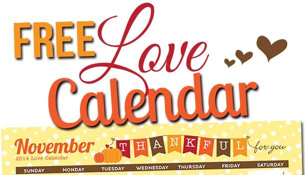 Free Printable November LOVE Calendar