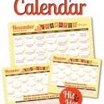 Free Printable November 2015 Love Calendar
