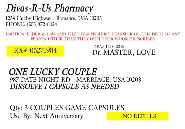 picture relating to Printable Fake Prescription Labels titled Prescription for Enjoyment - A Cost-free Printable Marriage Principle