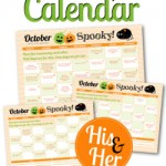 Free Printable October 2015 Love Calendar