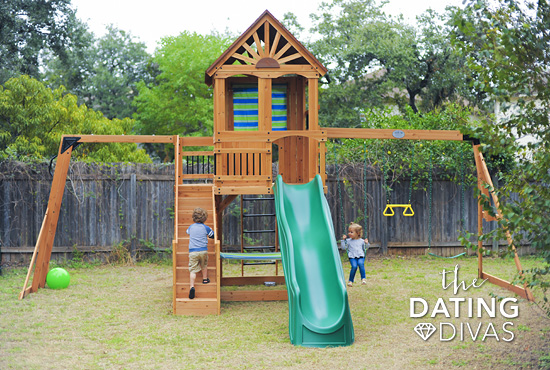 Outdoor Backyard Wooden Swing Set