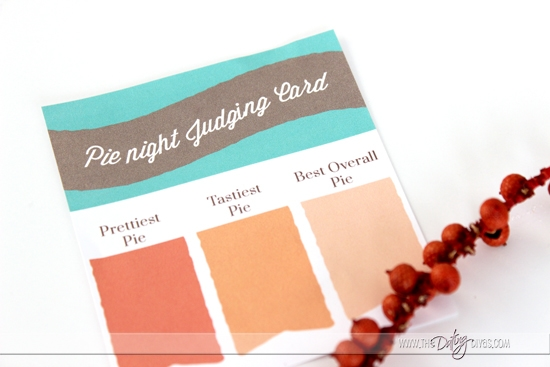 Pie Night Judging Card
