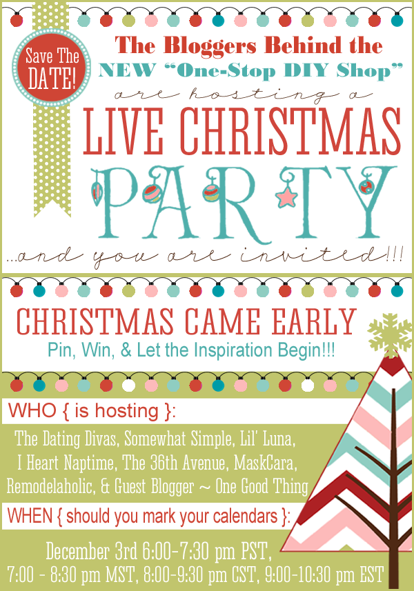 Mark your calendars for this amazing LIVE CHRISTMAS PARTY. Tons of giveaways, great ideas and fun surprises! the36thavenue.com