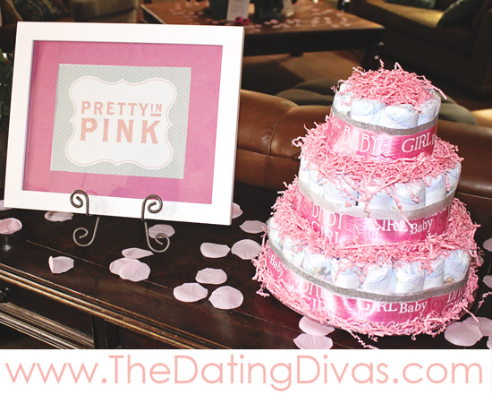 Pretty In Pink Diaper Cake - Free Printable For The Decor