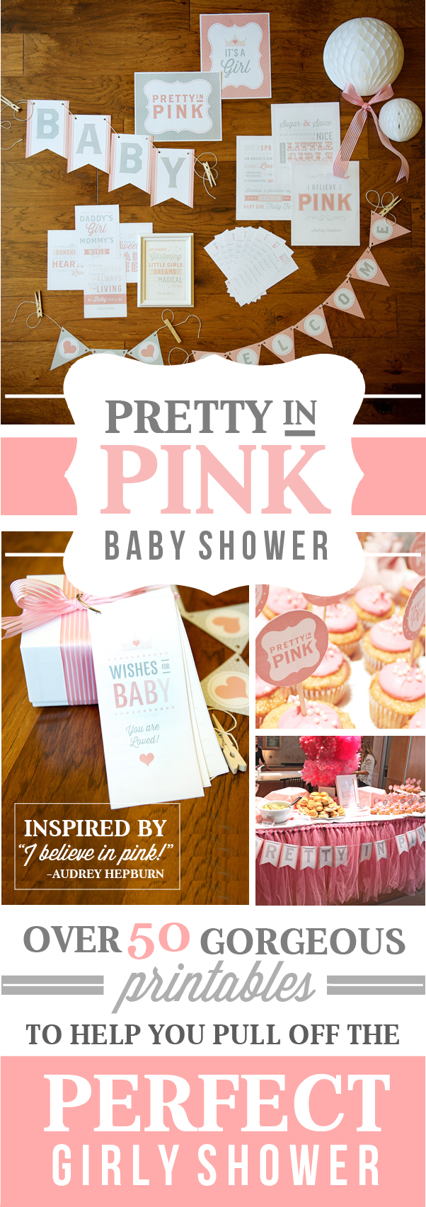 Pretty in Pink Baby Shower with printables - Perfect for a girl