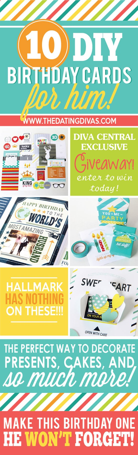 Printable Birthday Cards for Him giveaway